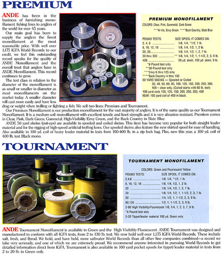 Ande monofilament line for Ande fishing line